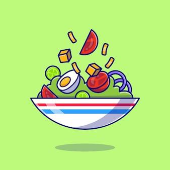 Ensalada de verduras con huevo hervido en un tazón de dibujos animados