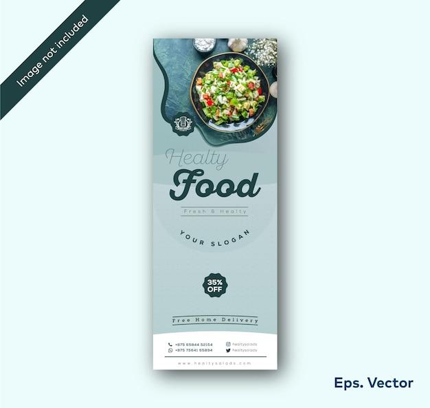 Ensaladas saludables y plantilla de diseño de banner enrollable de restaurante de comida