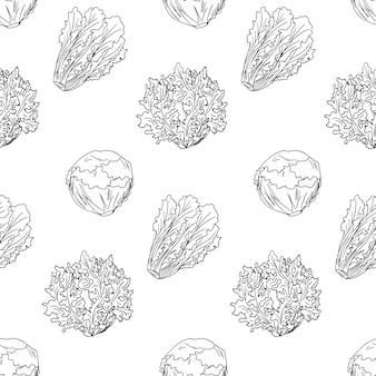 Ensaladas verdes y hojas de patrones sin fisuras. dibujados a mano lechuga esbozada.