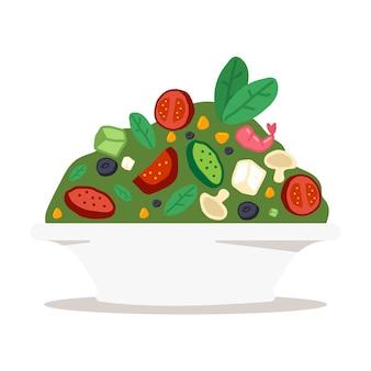 Ensaladera con verduras, queso y gambas.