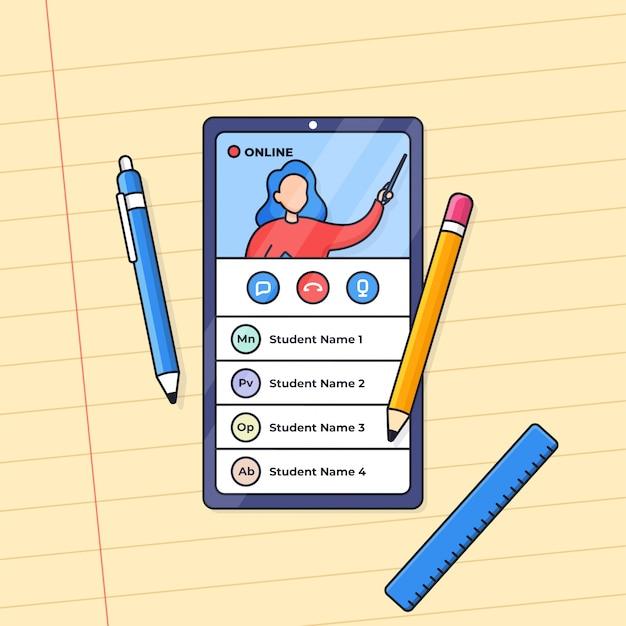 Enseñanza en vivo de educación a distancia de clase en línea con ilustración de teléfono inteligente