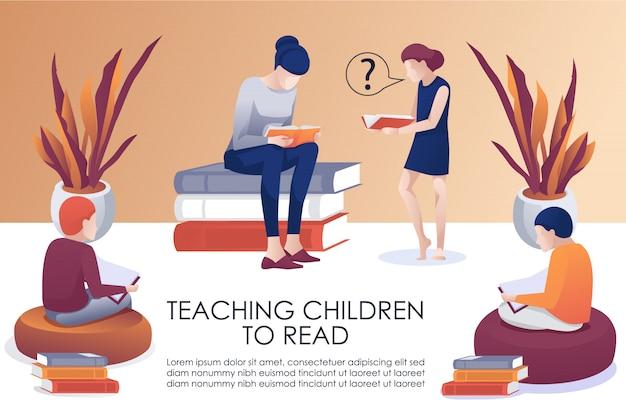 Enseñar a los niños a leer el cartel plano publicitario