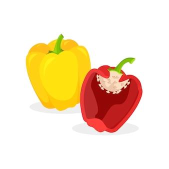 Entero fresco, la mitad de pimiento rojo y amarillo aislado