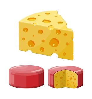 Entero y trozo de queso aislado en blanco. producto lácteo de leche. alimentos orgánicos saludables.