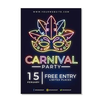 Entrada gratuita con cartel de fiesta de carnaval de neón de máscara
