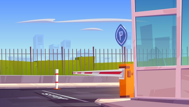 Entrada de seguridad de estacionamiento con barrera automática para autos
