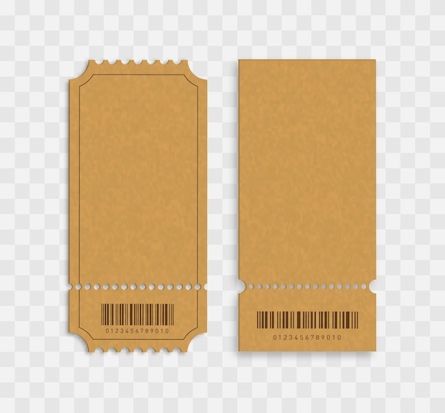 Entradas en blanco entradas de cine en blanco con códigos de barras aislados