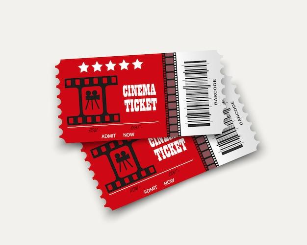 Entradas de cine aisladas sobre fondo transparente. boleto de entrada al cine realista.