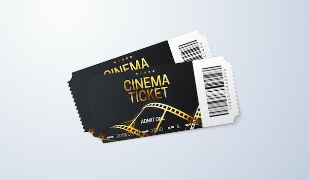 Entradas de cine con tira de película dorada y código de barras.