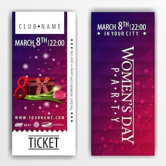 Las entradas para la fiesta del día de la mujer con regalo y tulipán.