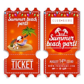 Entradas para la fiesta de verano en la playa.
