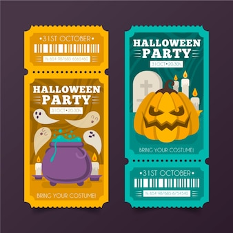 Entradas de halloween en diseño plano