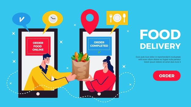 Entrega de alimentos y banner horizontal de compras en línea.