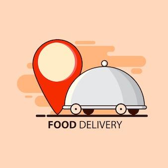 La entrega de alimentos en estilo plano
