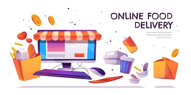 Entrega de alimentos en línea, banner de servicio de pedidos de comestibles