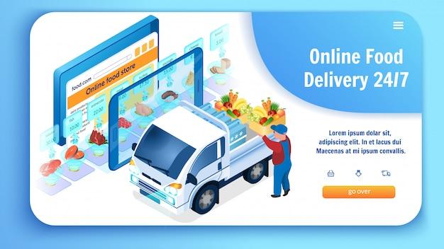 Entrega de alimentos en línea cargando camión con comestibles.