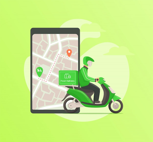 Entrega de alimentos por mensajería conduciendo una motocicleta a la dirección de destino