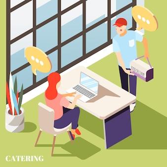 Entrega de alimentos a la oficina de fondo isométrico con ilustración de entrega de mensajería