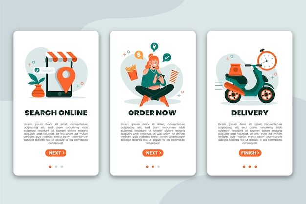 Entrega de alimentos: pantallas de incorporación