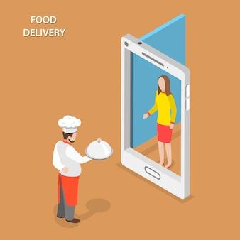 La entrega de alimentos plana isométrica