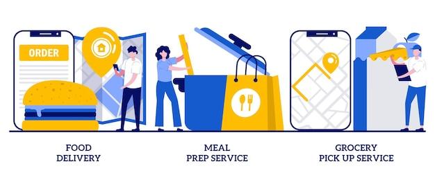 Entrega de alimentos, servicio de preparación de comidas, concepto de servicio de recogida de comestibles con personas pequeñas. los elementos esenciales de los alimentos de cuarentena suministran un conjunto de ilustraciones vectoriales abstractas. metáfora de envío de productos.