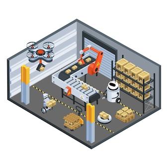 Entrega automática de logística composición isométrica