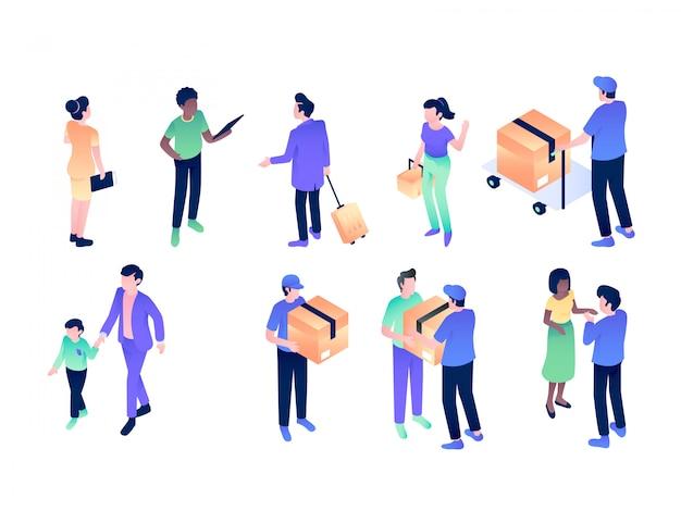Entrega cartero envío isométrico vector diseño ilustración