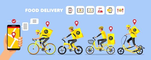 Entrega de comida de bicicleta amarilla con iconos de pedido en línea