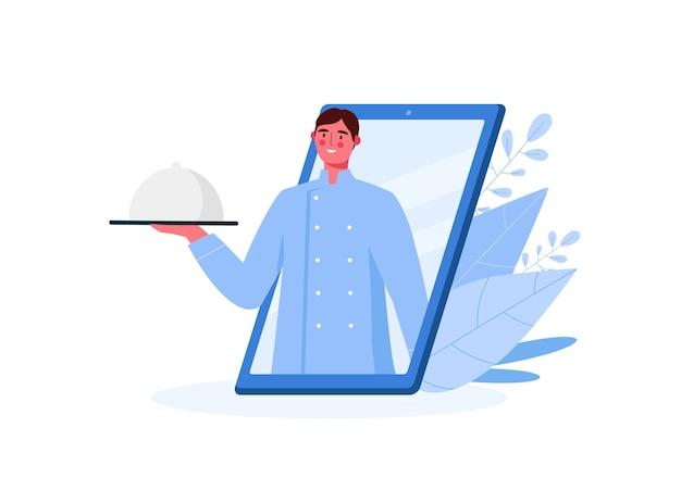 Entrega de comida online en diseño plano