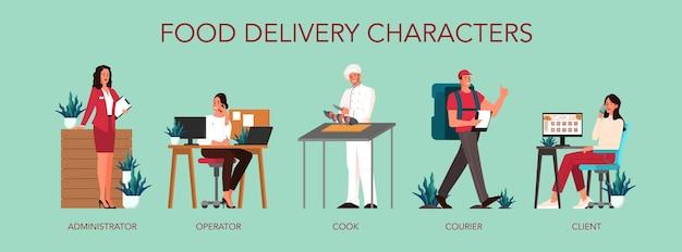 Entrega de comida desde el servicio de comidas al cliente. mujer pidiendo comida, chef preparando y entrega de mensajería. ordene en internet, pague con tarjeta y espere mensajería. ilustración