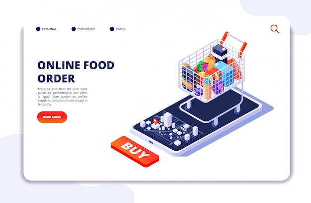 Entrega de comida en el supermercado. pedido en línea con aplicación móvil. concepto isométrico de restaurante de comida de internet