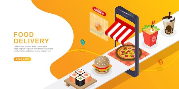 Entrega de comida teléfono móvil. orden de alimentos en línea y concepto de comercio electrónico.