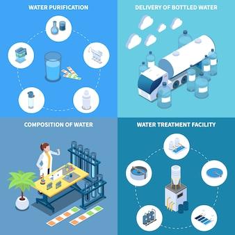 Entrega y composición de purificación de agua industrial y doméstica de beber líquido isométrico concepto de diseño aislado ilustración vectorial