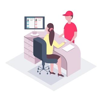 Entrega de correo de oficina. personaje de un mensajero y una secretaria en la recepción. isométrico aislado sobre fondo blanco.