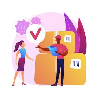 Entrega y desembalaje de paquetes, recepción de pedidos, inspección del contenido de la caja. personaje de dibujos animados de destinatario femenino. servicio de envío dirigido.