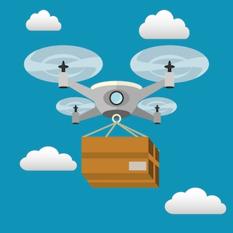 Entrega de drones con una caja volando
