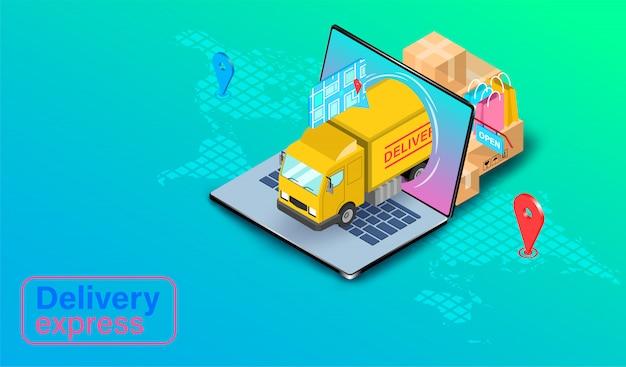 Entrega express en camión en computadora portátil con gps. pedido y paquete de alimentos en línea en comercio electrónico por sitio web. diseño plano isométrico.