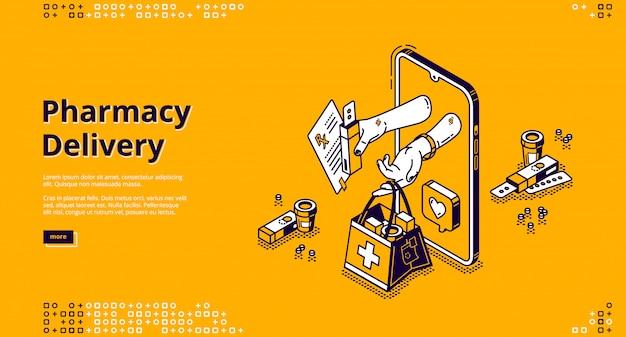Entrega de farmacia, banner de vector de tienda en línea