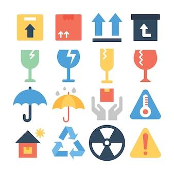 Entrega frágil signo iconos planos