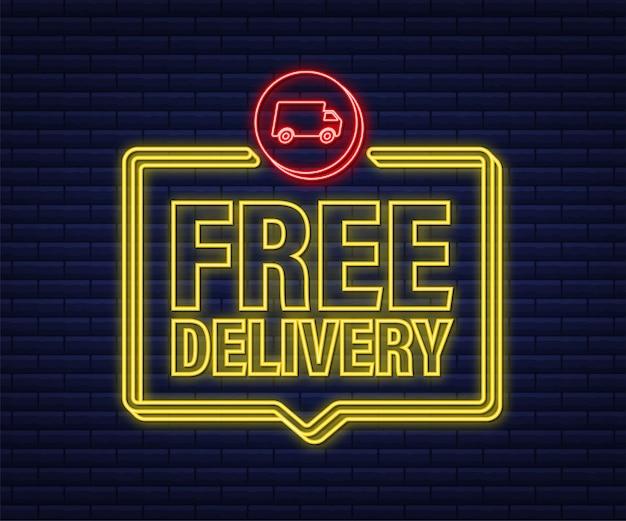 Entrega gratis. icono de neón. insignia con camión. ilustración de stock vectorial.