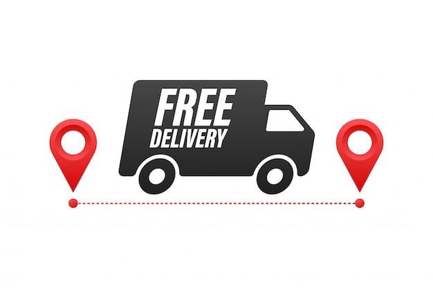 Entrega gratis. insignia con camión. ilustración de acciones.