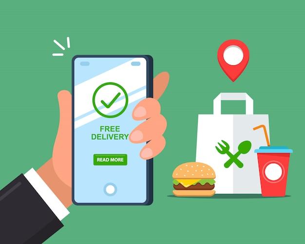 Entrega gratuita de comida rápida a través de un teléfono inteligente. ilustración plana