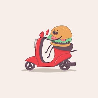 Entrega de hamburguesas divertido personaje de mensajería de comida en la ilustración de dibujos animados de ciclomotor