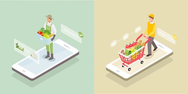 Entrega isométrica de comestibles en la pantalla del teléfono inteligente