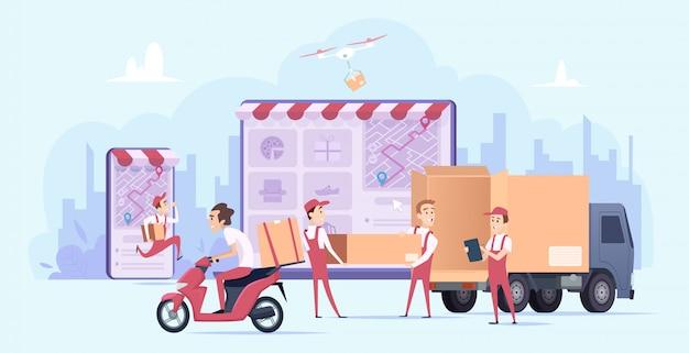 Entrega en linea. compras digitales rápidas y servicio de transporte de mensajería urbana envío de regalos entrega concepto ilustración