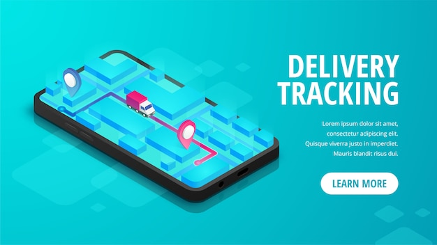 Entrega en línea seguimiento isométrico concepto de banner smartphone con mapa, camión, pin en la pantalla.