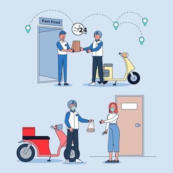 Entrega en línea, servicio de pedidos y conjunto de ilustraciones de servicio de entrega