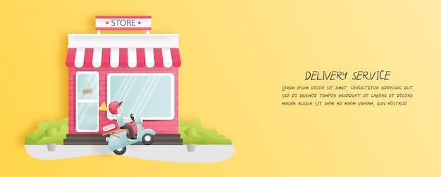 Entrega en línea desde la tienda con el repartidor en un scooter. estilo de corte de papel. ilustración.