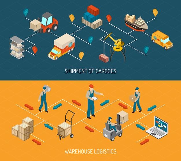 Entrega logística y conjunto de banners de almacén.