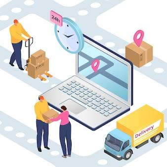 Entrega y logística, transporte de carga, envío de paquetes isométrico.